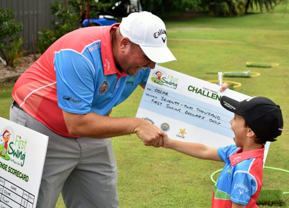 First Swing presenting boy with challenge check